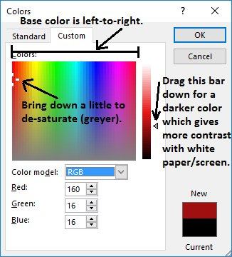 Annotated diagram showing how to use a standard color picker to achieve better colors.